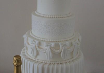 Wedding Cakes - 5 Tier White Vintage Wedding Cake