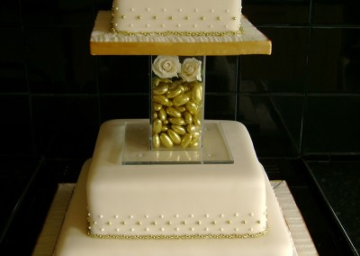Wedding Cakes - 3 tier gold and ivory square wedding cake