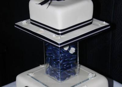 Wedding Cakes - Ivory and Navy Square Wedding Cake