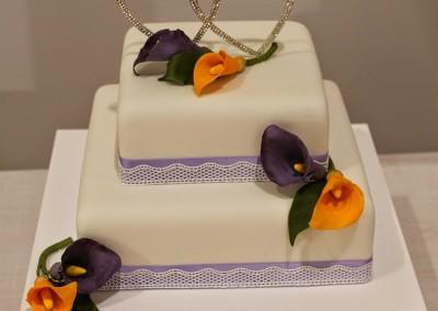 Wedding Cakes - 2 tier square calla lily wedding cake