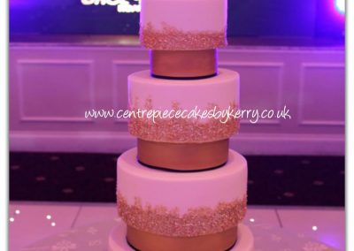 Gold Sequined Wedding Cake