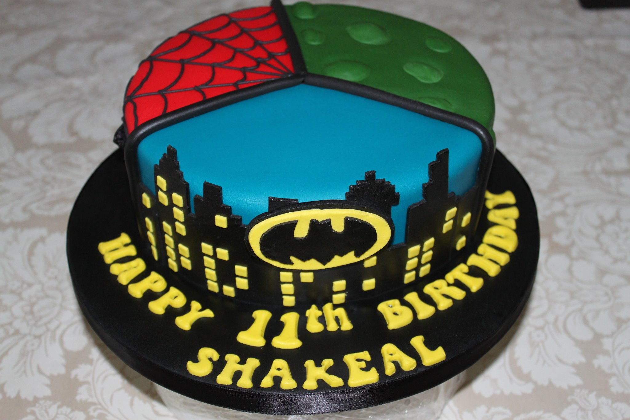 Three section comic character themed cake