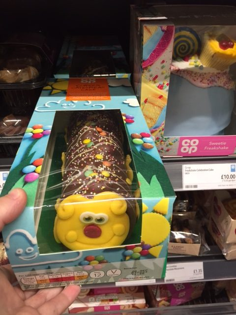 Shop bought cake Colin the Caterpillar