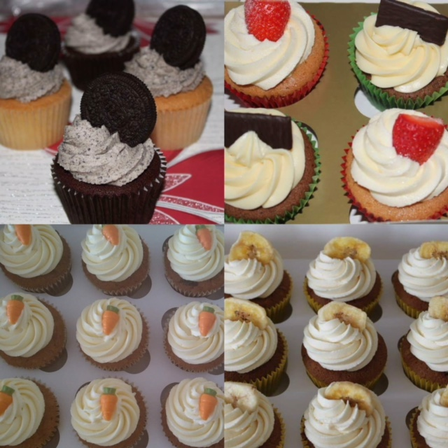 cupcake selection oreo cupcakes strawberry cupcakes mint cupcakes banana cupcakes and carrot cupcakes