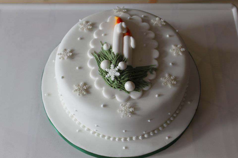 Decorated Christmas Cake with Candles