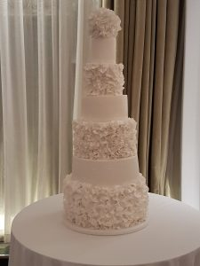 Bespoke 7 tiered ruffle wedding cake