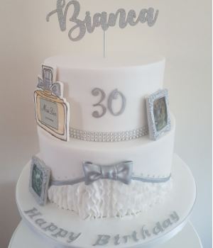 30th white and silver birthday cake