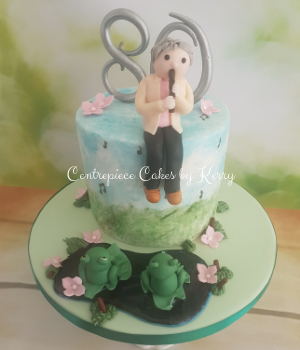 80th birthday cake with fondant frogs