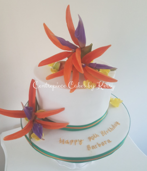 90th birthday cake with sugar bird of paradise