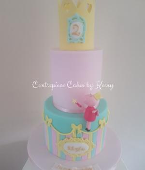 Fairy peppa tiered birthday cake