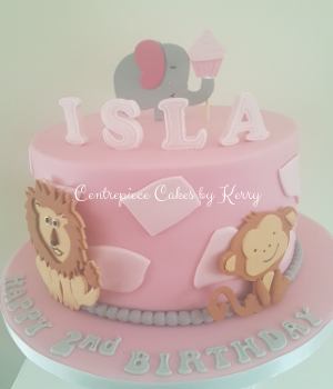 Pink jungle themed 2nd birthday cake