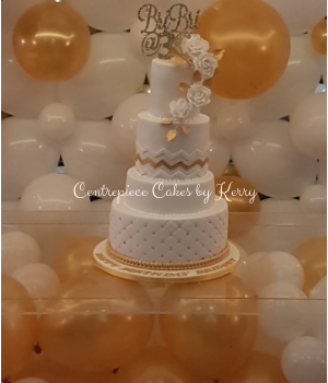 White And Gold Tiered 30th Birthday Cake
