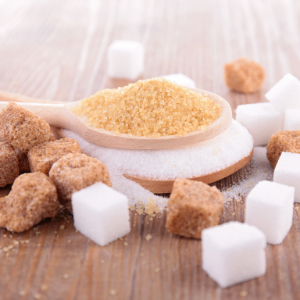 Brown and white sugar granulated and cubed