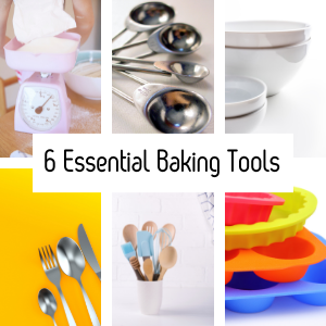 Images of the essential baking tools. Scales, measuring spoons, bowls, cutlery, spatulas, baking trays